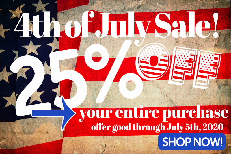 4th of July Sale 25% off